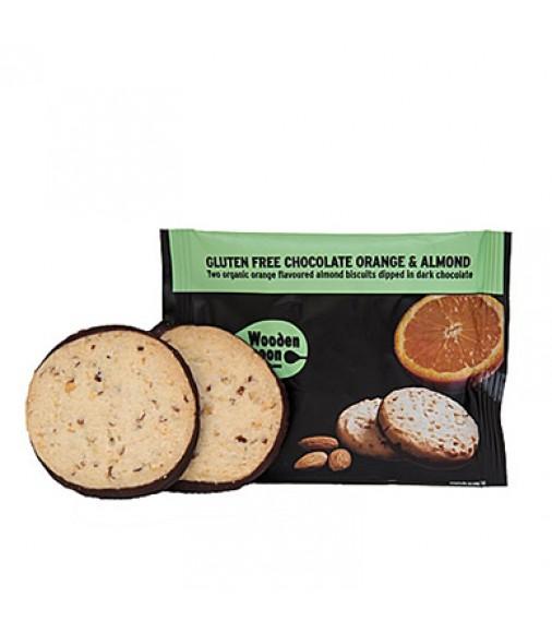 Biscuiti organici cu migdale, portocale si glazura de ciocolata Wooden Spoon