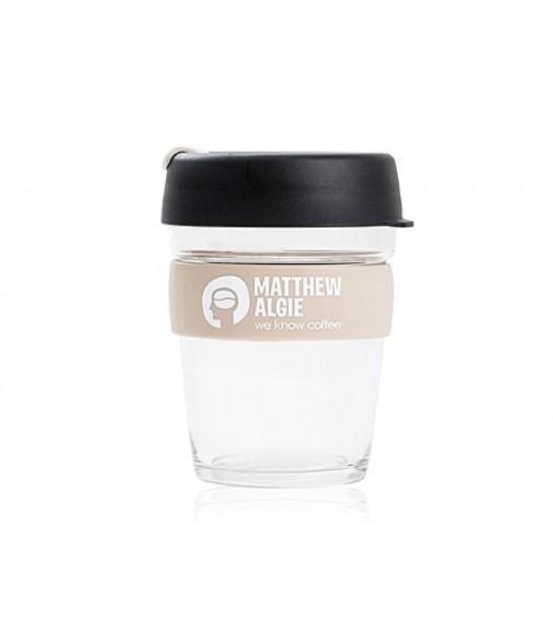 Pahar sticla to go KeepCup - Matthew Algie Glass Brew Cup Black 12 oz (350 ml)