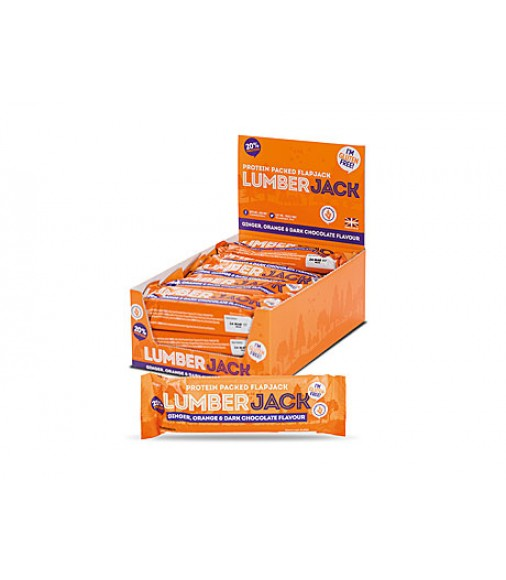 Baton proteic organic cu fulgi de ovaz, portocala si ciocolata neagra Lumberjack