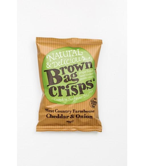 Chipsuri cu branza cheddar si ceapa Brown Bag Crisps