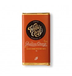 Baton ciocolata neagra cu portocale Willies Cacao - Luscious Orange